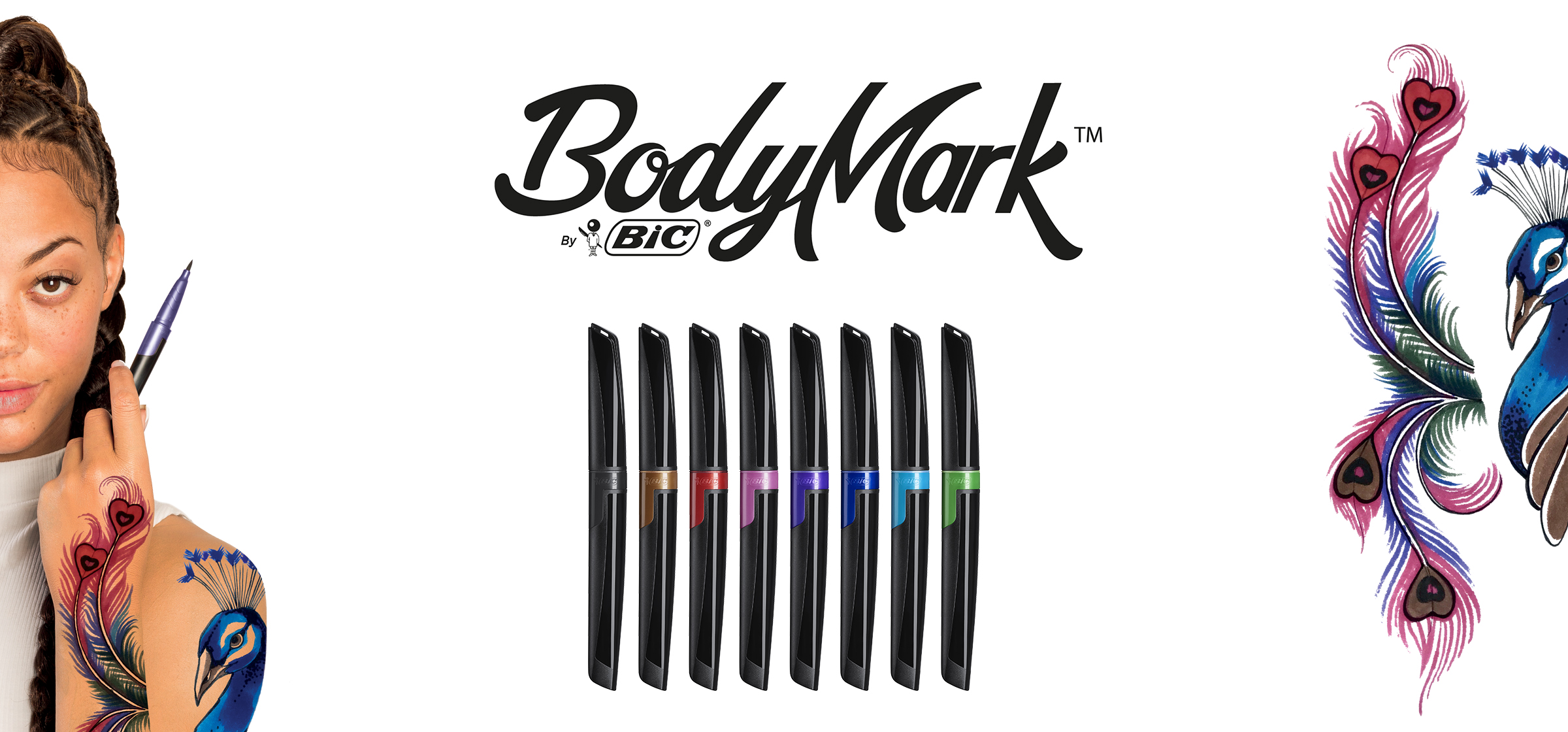 girl with tattoos and BIC BodyMark markers